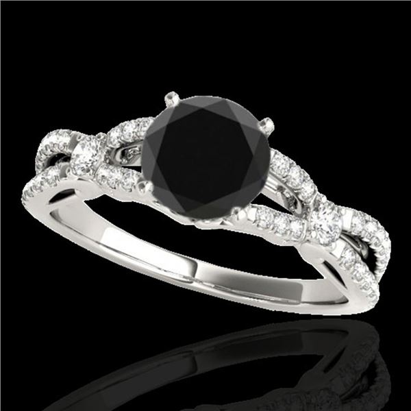 1.35 ctw Certified VS Black Diamond Solitaire Ring 10k White Gold - REF-53N2F