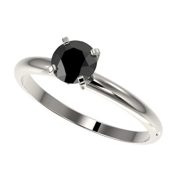 0.75 ctw Fancy Black Diamond Solitaire Engagment Ring 10k White Gold - REF-19F3M