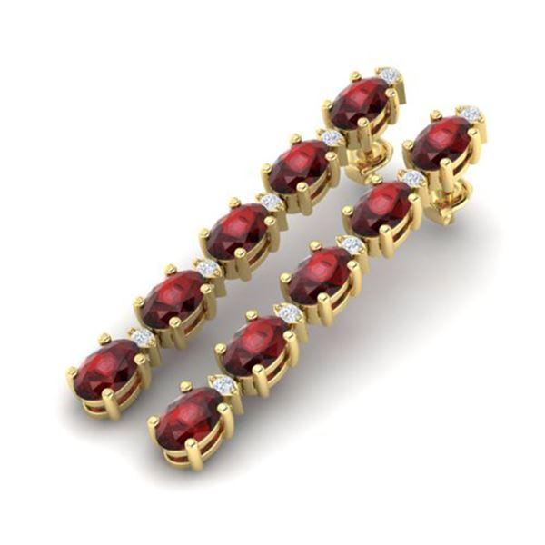 6 ctw Garnet & VS/SI Diamond Certified Tennis Earrings 10k Yellow Gold - REF-25R9K