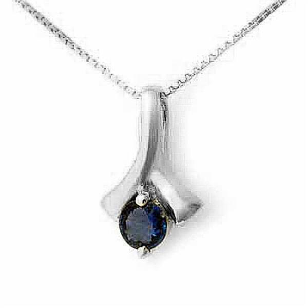 0.33 ctw Blue Sapphire Pendant 18k White Gold - REF-11N6F