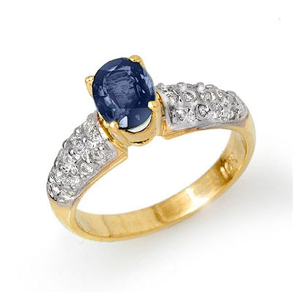 1.50 ctw Blue Sapphire & Diamond Ring 10k Yellow Gold - REF-40H9R