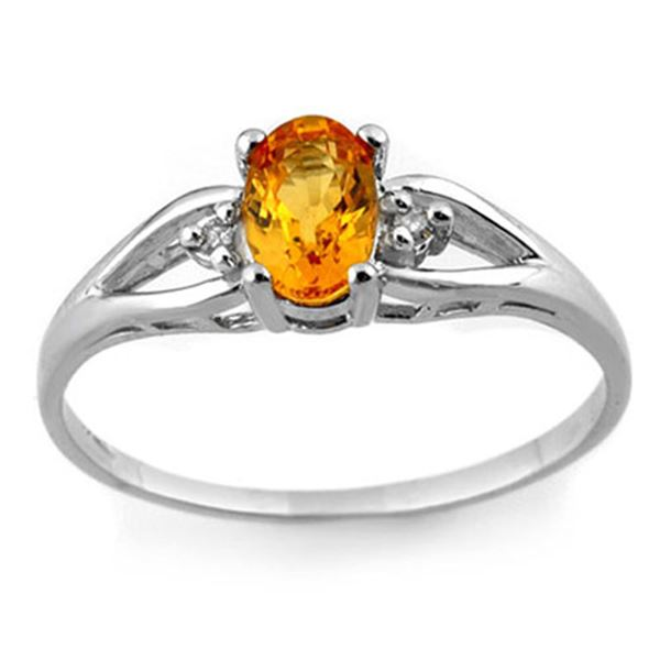 0.77 ctw Yellow Sapphire & Diamond Ring 10k White Gold - REF-13W2H