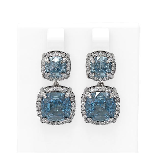 12.93 ctw Blue Topaz & Diamond Earrings 18K White Gold - REF-178H2R