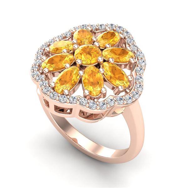 3 ctw Citrine & VS/SI Diamond Cluster Designer Ring 10k Rose Gold - REF-49W3H