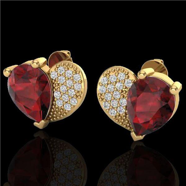 2.50 ctw Garnet & Micro Pave VS/SI Diamond Earrings 10k Yellow Gold - REF-22N5F