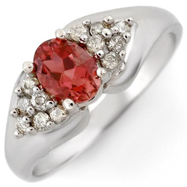 0.90 ctw Pink Tourmaline & Diamond Ring 18k White Gold - REF-38K2Y