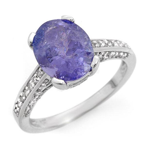 4.50 ctw Tanzanite & Diamond Ring 18k White Gold - REF-148X2A