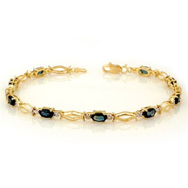3.25 ctw Blue Sapphire Bracelet 10k Yellow Gold - REF-20H6R