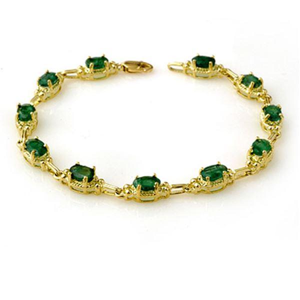 6.10 ctw Emerald Bracelet 10k Yellow Gold - REF-52H3R