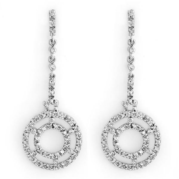 1.0 ctw Certified VS/SI Diamond Earrings 14k White Gold - REF-109Y3X