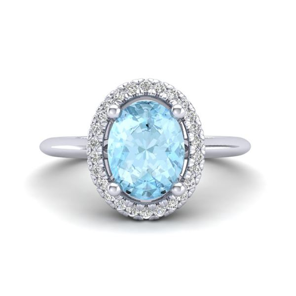 1.50 ctw Aquamarine & Micro VS/SI Diamond Ring Halo 18k White Gold - REF-41K9Y