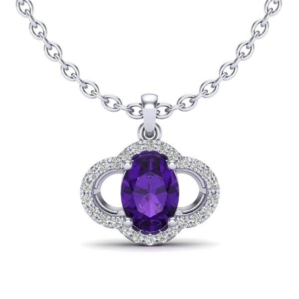 2 ctw Amethyst & Micro Pave VS/SI Diamond Necklace 10k White Gold - REF-22R2K