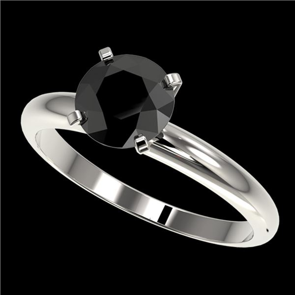 1.50 ctw Fancy Black Diamond Solitaire Engagment Ring 10k White Gold - REF-39H3R