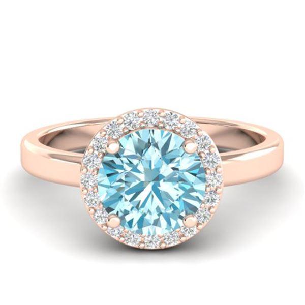 2 ctw Sky Blue Topaz & Halo VS/SI Diamond Micro Ring 14k Rose Gold - REF-30F8M