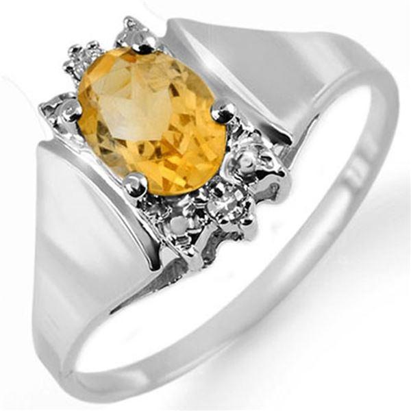 1.23 ctw Citrine & Diamond Ring 18k White Gold - REF-21Y8X