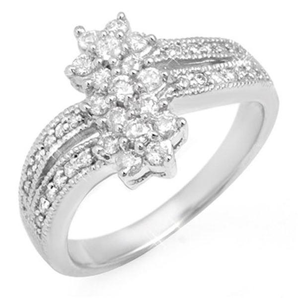 0.75 ctw Certified VS/SI Diamond Ring 10k White Gold - REF-41H4R