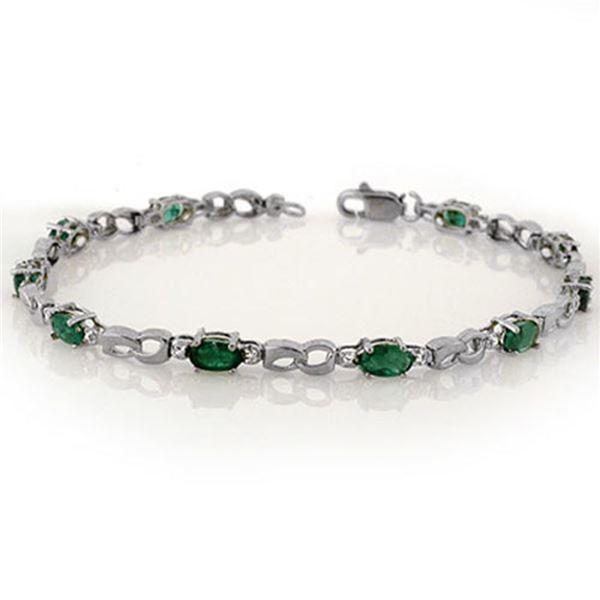 3.01 ctw Emerald & Diamond Bracelet 10k White Gold - REF-21R4K