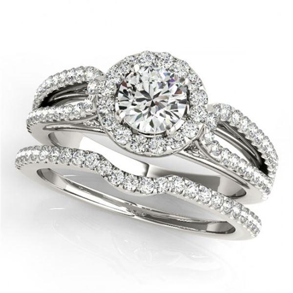 0.96 ctw Certified VS/SI Diamond 2pc Wedding Set Halo 14k White Gold - REF-79F2M