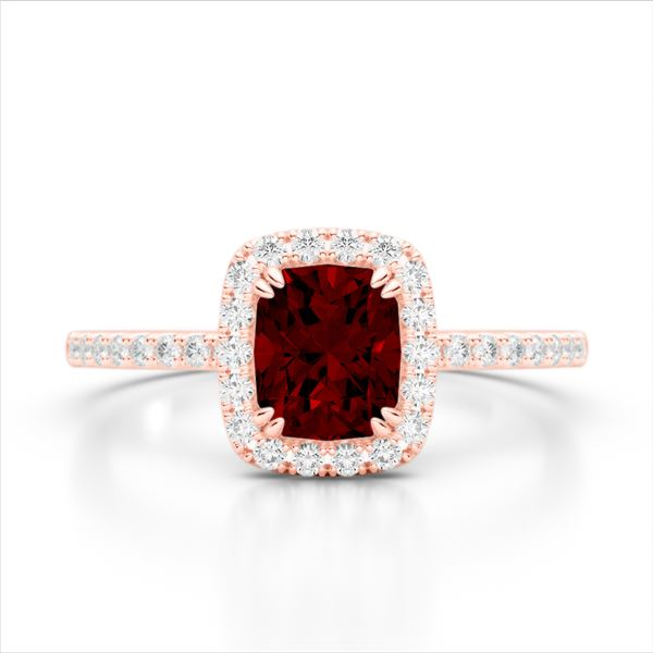 1.25 ctw Garnet & Micro Pave VS/SI Diamond Certified Ring 10k Rose Gold - REF-24M8G