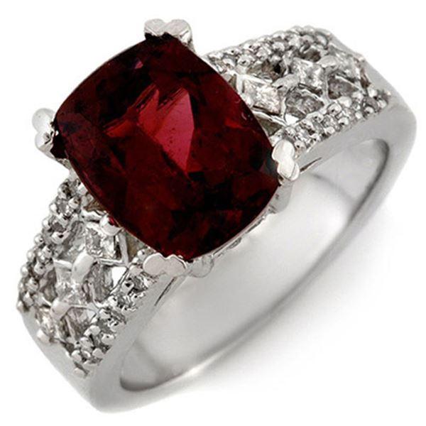 3.50 ctw Pink Tourmaline & Diamond Ring 14k White Gold - REF-118R2K
