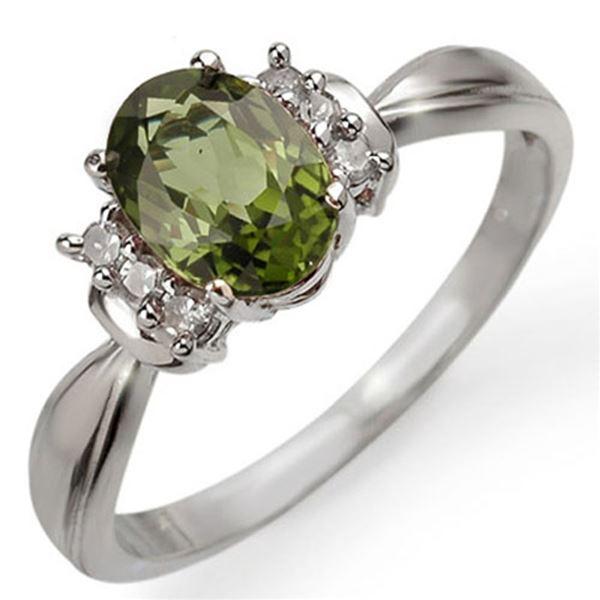 1.06 ctw Green Tourmaline & Diamond Ring 10k White Gold - REF-17G2W