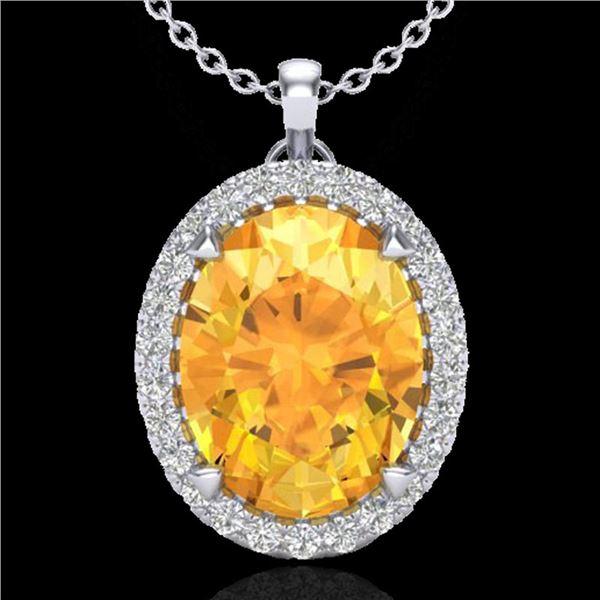 2.75 ctw Citrine & Micro VS/SI Diamond Halo Necklace 18k White Gold - REF-37Y5X