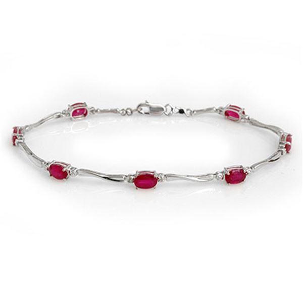 5.02 ctw Ruby & Diamond Bracelet 10k White Gold - REF-40N8F