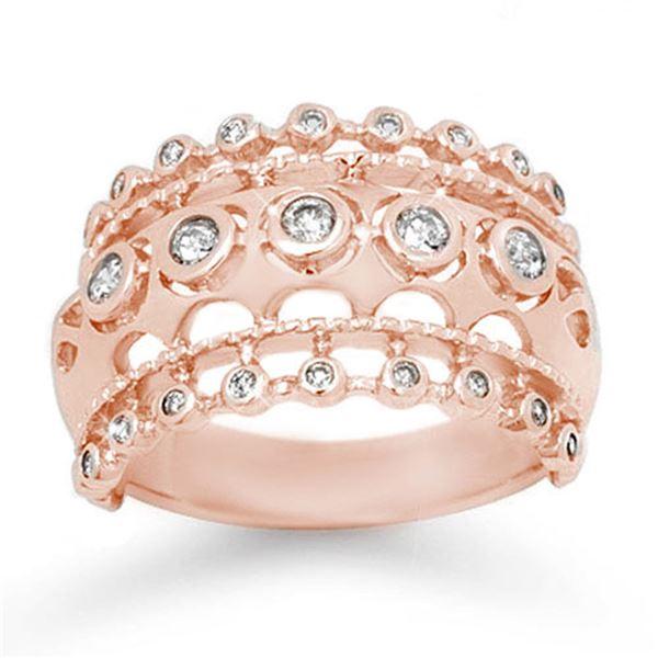 0.83 ctw Certified Diamond Ring 14k Rose Gold - REF-87N3F
