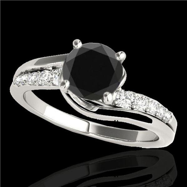 1.31 ctw Certified VS Black Diamond Bypass Solitaire Ring 10k White Gold - REF-50R2K
