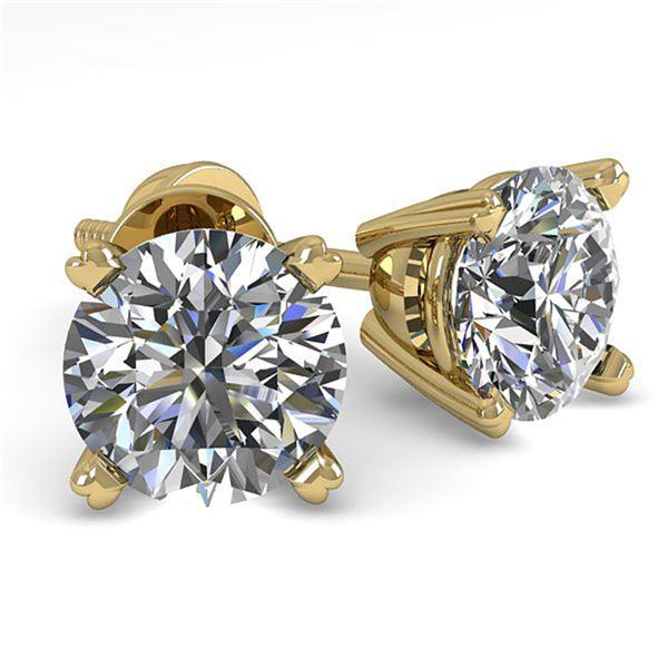 1.0 ctw VS/SI Diamond Stud Designer Earrings 14k Yellow Gold - REF-97G2W