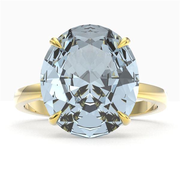9 ctw Sky Blue Topaz Designer Engagment Ring 18k Yellow Gold - REF-40M2G