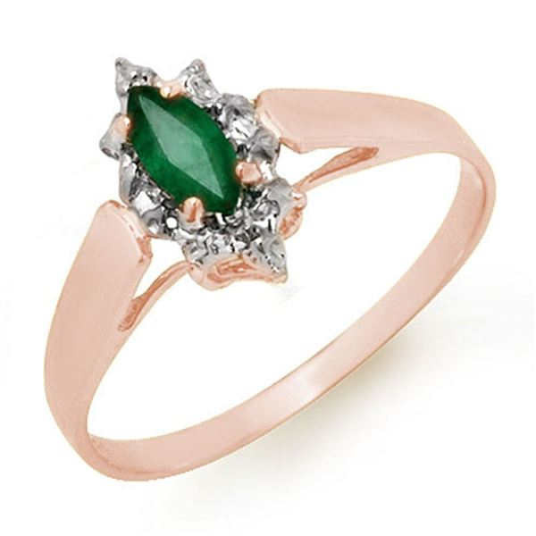 0.25 ctw Emerald Ring 18k Rose Gold - REF-14N2F