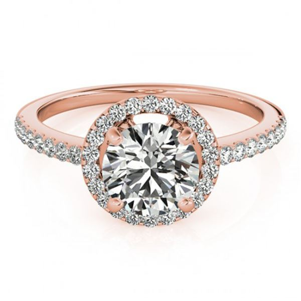0.9 ctw Certified VS/SI Diamond Halo Ring 18k Rose Gold - REF-99H3R