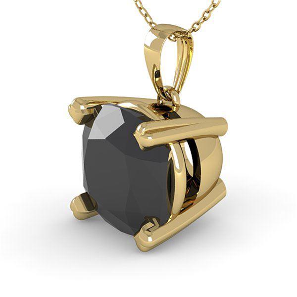 3 ctw Cushion Black Diamond Designer Necklace 14k Yellow Gold - REF-65F8M