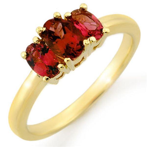 1.18 ctw Pink Tourmaline Ring 10k Yellow Gold - REF-18M3G