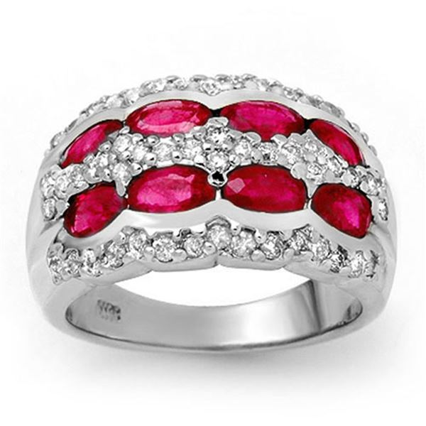 2.50 ctw Ruby & Diamond Ring 14k White Gold - REF-105W5H