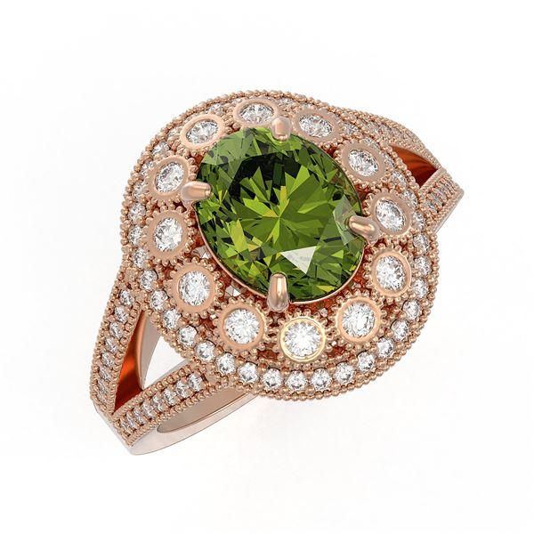 4.25 ctw Certified Tourmaline & Diamond Victorian Ring 14K Rose Gold - REF-132X8A