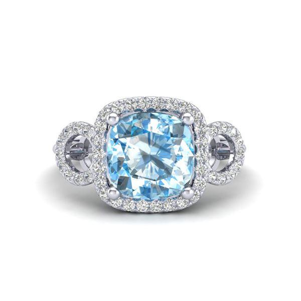 3.75 ctw TOPAZ & Micro VS/SI Diamond Certified Ring 18k White Gold - REF-50Y4X
