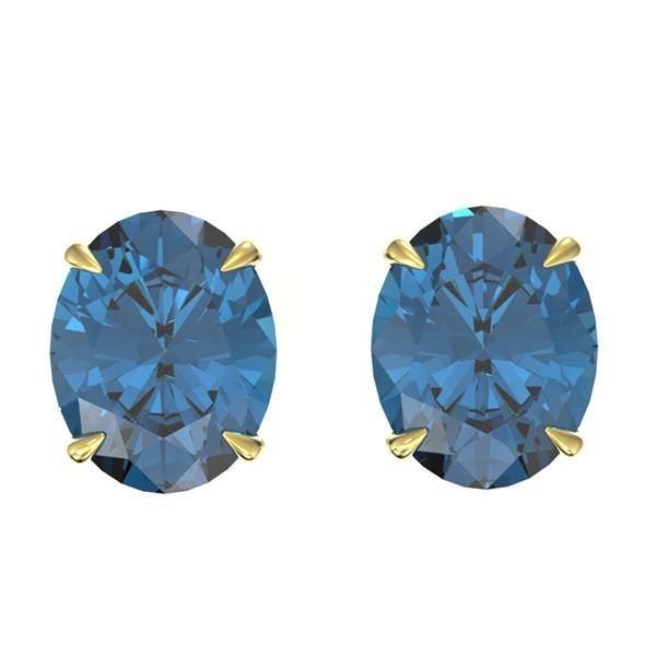 7 ctw London Blue Topaz Designer Stud Earrings 18k Yellow Gold - REF-28H3R