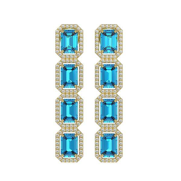 11.13 ctw Swiss Topaz & Diamond Micro Pave Halo Earrings 10k Yellow Gold - REF-172X8A