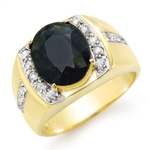 6.33 ctw Blue Sapphire & Diamond Men's Ring 10k Yellow Gold - REF-100G2W