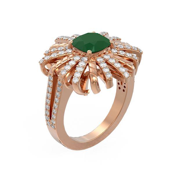 3.23 ctw Emerald & Diamond Ring 18K Rose Gold - REF-169K8Y