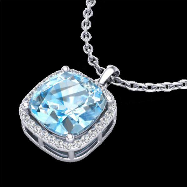 6 ctw Sky Blue Topaz & Pave VS/SI Diamond Necklace 18k White Gold - REF-41A2N
