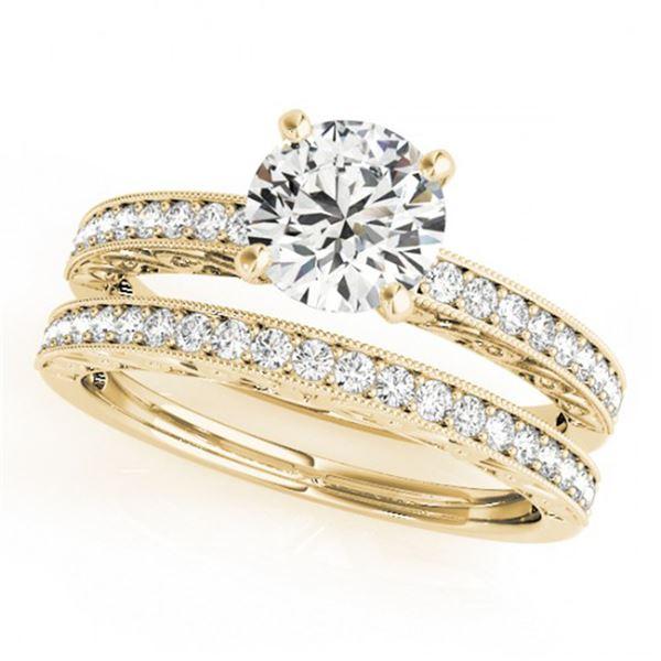 0.90 ctw Certified VS/SI Diamond 2pc Wedding Set Antique 14k Yellow Gold - REF-107A8N