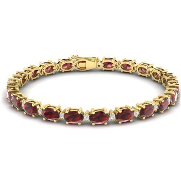 25.8 ctw Garnet & VS/SI Certified Diamond Eternity Bracelet 10k Yellow Gold - REF-119R3K
