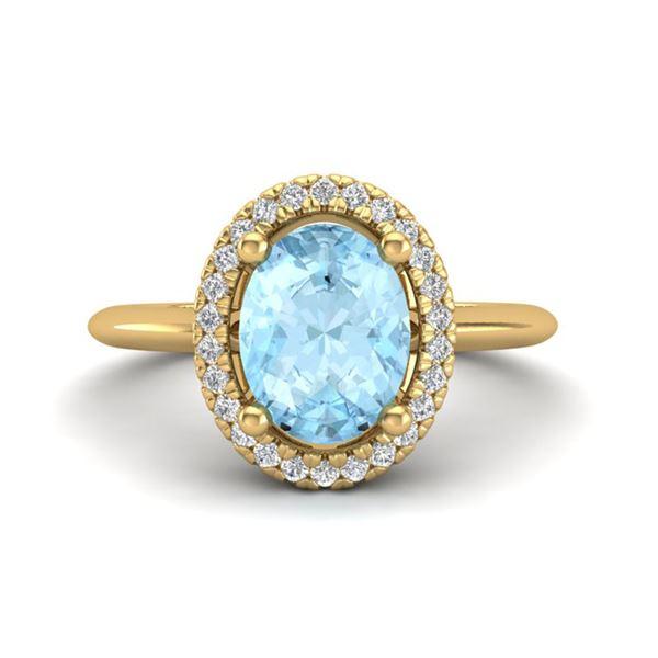 1.50 ctw Aquamarine & Micro VS/SI Diamond Ring Halo 18k Yellow Gold - REF-41N9F
