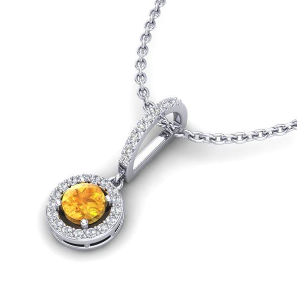 1 ctw Citrine & Micro VS/SI Diamond Certified Necklace 18k White Gold - REF-34F9M