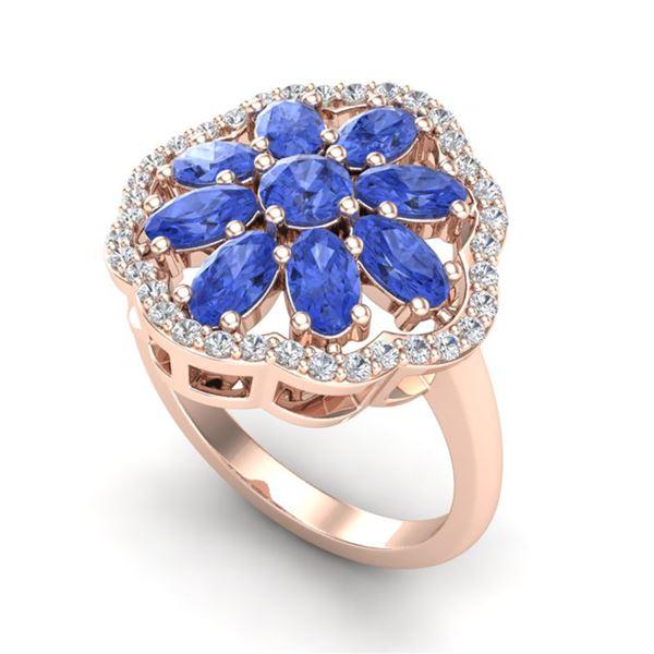 3 ctw Tanzanite & VS/SI Diamond Cluster Designer Ring 10k Rose Gold - REF-52W3H