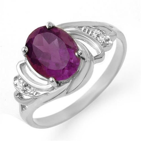 1.48 ctw Amethyst & Diamond Ring 18k White Gold - REF-24R5K