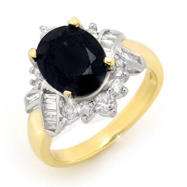 4.40 ctw Blue Sapphire & Diamond Ring 14k Yellow Gold - REF-77Y6X